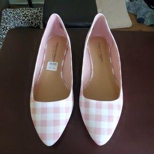 Christian Siriano Pink Check Gigi Pointed Toe Flat